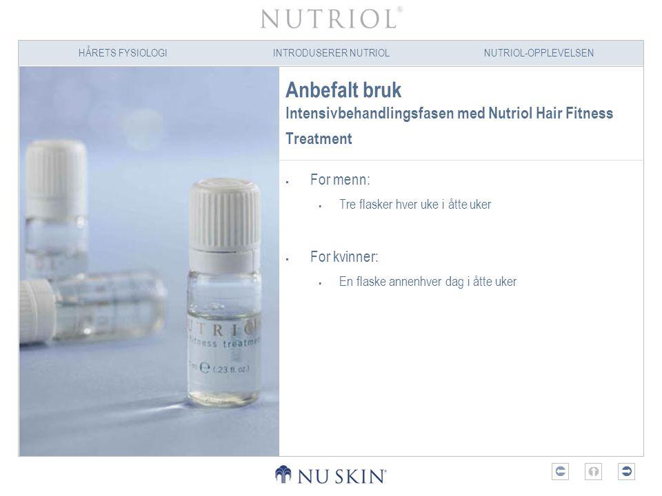 HÅRETS FYSIOLOGIINTRODUSERER NUTRIOLNUTRIOL-OPPLEVELSEN  Anbefalt bruk Intensivbehandlingsfasen med Nutriol Hair Fitness Treatment  For menn:  Tr