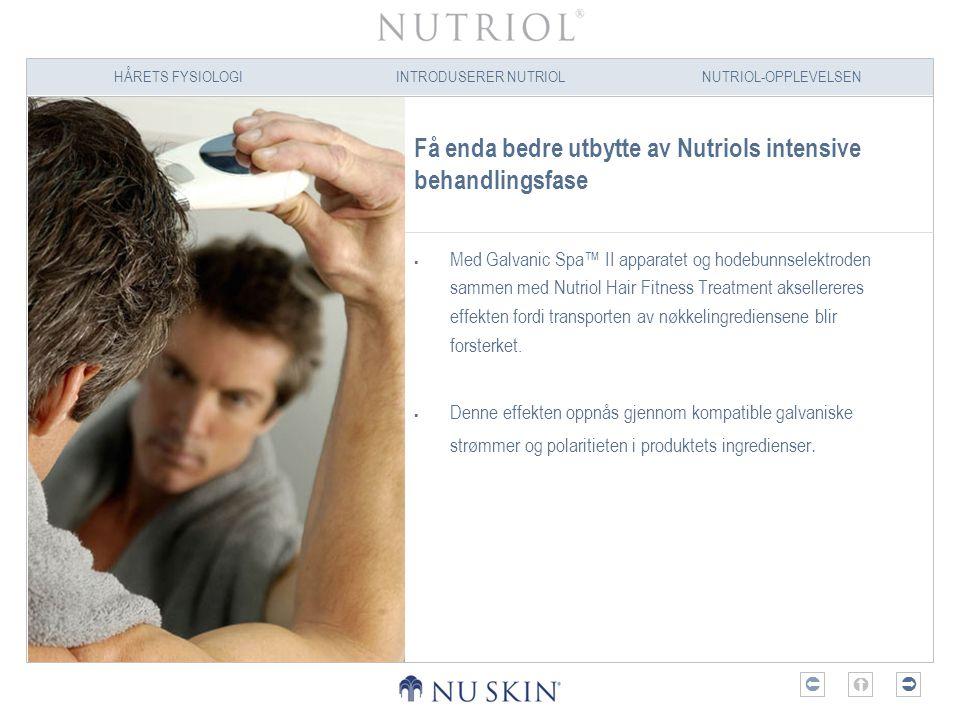 HÅRETS FYSIOLOGIINTRODUSERER NUTRIOLNUTRIOL-OPPLEVELSEN  Få enda bedre utbytte av Nutriols intensive behandlingsfase  Med Galvanic Spa™ II apparat
