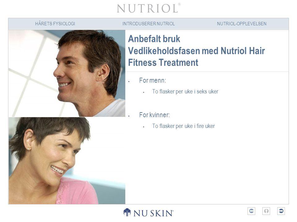 HÅRETS FYSIOLOGIINTRODUSERER NUTRIOLNUTRIOL-OPPLEVELSEN  Anbefalt bruk Vedlikeholdsfasen med Nutriol Hair Fitness Treatment  For menn:  To flaske