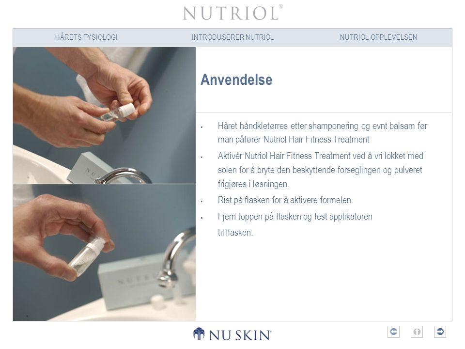 HÅRETS FYSIOLOGIINTRODUSERER NUTRIOLNUTRIOL-OPPLEVELSEN  Anvendelse  Håret håndkletørres etter shamponering og evnt balsam før man påfører Nutriol