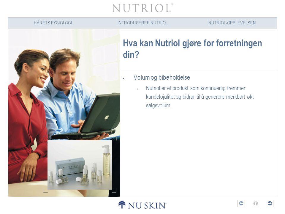 HÅRETS FYSIOLOGIINTRODUSERER NUTRIOLNUTRIOL-OPPLEVELSEN  Hva kan Nutriol gjøre for forretningen din?  Volum og bibeholdelse  Nutriol er et produk