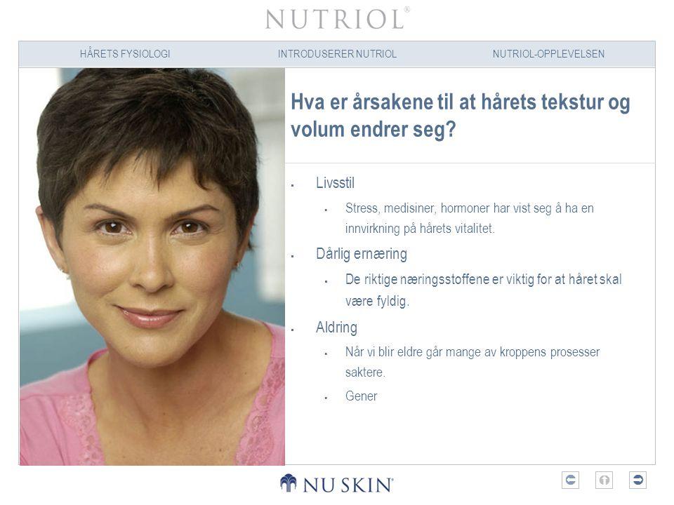 HÅRETS FYSIOLOGIINTRODUSERER NUTRIOLNUTRIOL-OPPLEVELSEN  Hva er årsakene til at hårets tekstur og volum endrer seg?  Livsstil  Stress, medisiner,