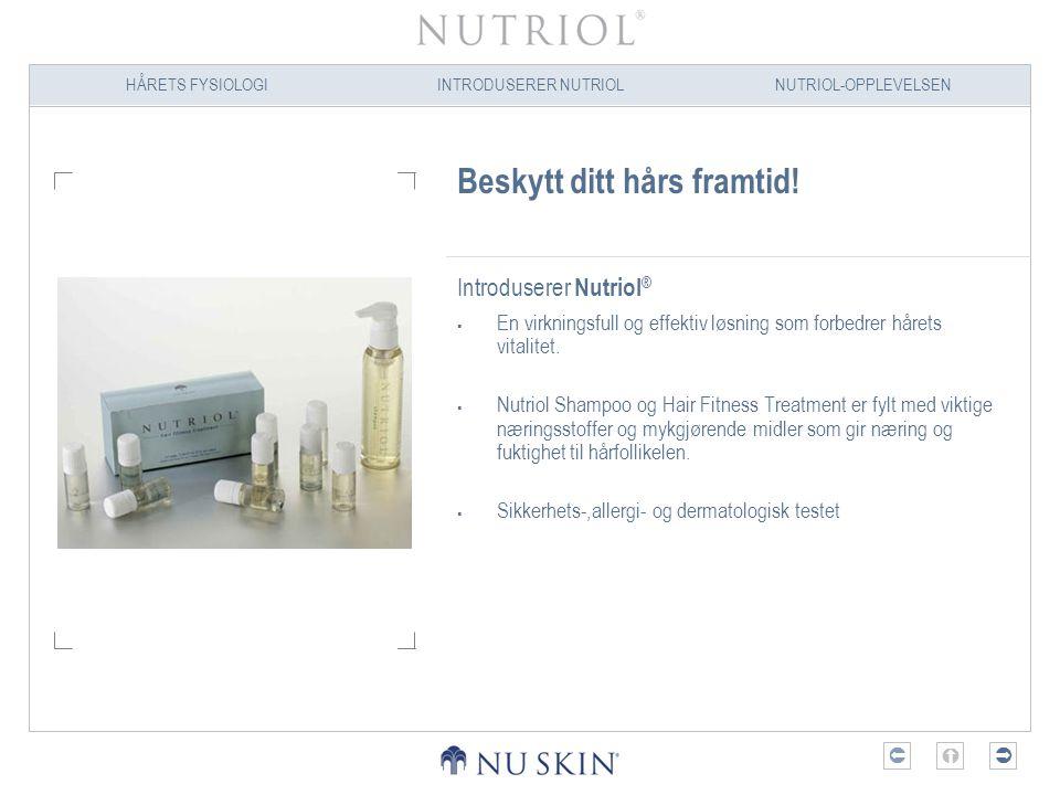 HÅRETS FYSIOLOGIINTRODUSERER NUTRIOLNUTRIOL-OPPLEVELSEN  Beskytt ditt hårs framtid! Introduserer Nutriol ®  En virkningsfull og effektiv løsning s