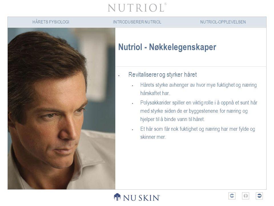 HÅRETS FYSIOLOGIINTRODUSERER NUTRIOLNUTRIOL-OPPLEVELSEN  Nutriol - Nøkkelegenskaper  Revitaliserer og styrker håret  Hårets styrke avhenger av hv