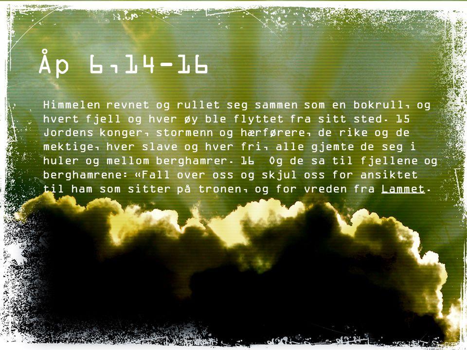 Åp 6,14-16 Himmelen revnet og rullet seg sammen som en bokrull, og hvert fjell og hver øy ble flyttet fra sitt sted. 15 Jordens konger, stormenn og hæ