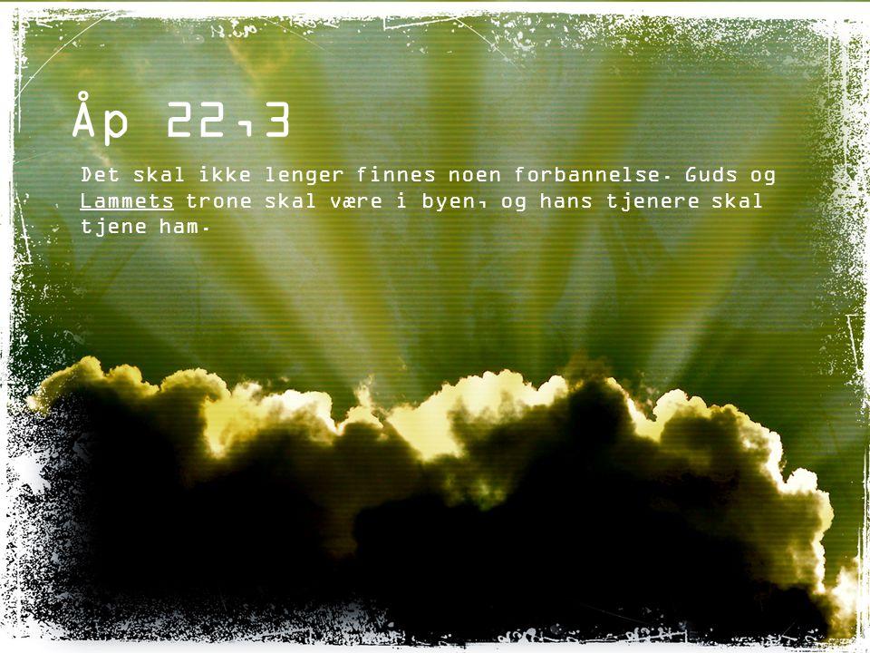 Åp 22,3 Det skal ikke lenger finnes noen forbannelse. Guds og Lammets trone skal være i byen, og hans tjenere skal tjene ham.