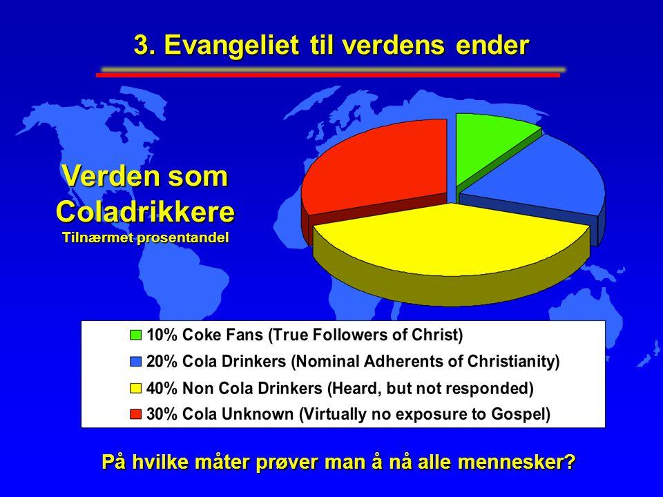 Verden som Coladrikkere Tilnærmet prosentandel På hvilke måter prøver man å nå alle mennesker? 3. Evangeliet til verdens ender