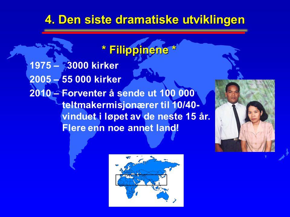 4. Den siste dramatiske utviklingen 1975 – 3000 kirker 2005 – 55 000 kirker 2010 – Forventer å sende ut 100 000 teltmakermisjonærer til 10/40- vinduet