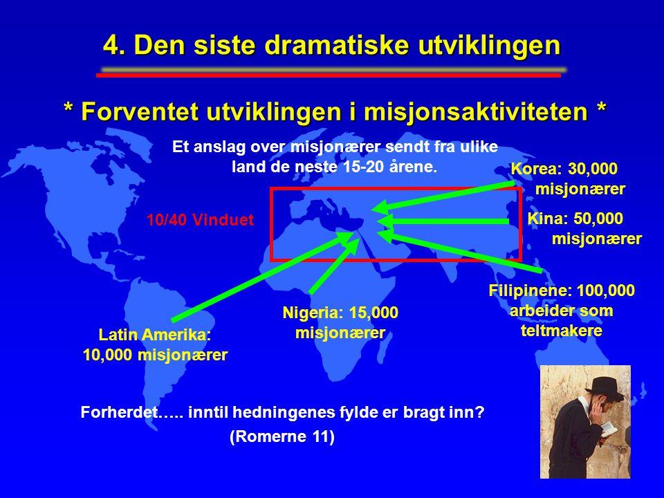 4. Den siste dramatiske utviklingen * Forventet utviklingen i misjonsaktiviteten * Et anslag over misjonærer sendt fra ulike land de neste 15-20 årene