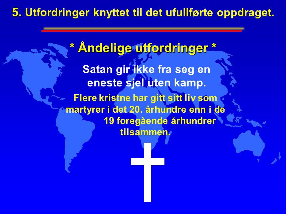 * Åndelige utfordringer * Satan gir ikke fra seg en eneste sjel uten kamp. Flere kristne har gitt sitt liv som martyrer i det 20. århundre enn i de 19