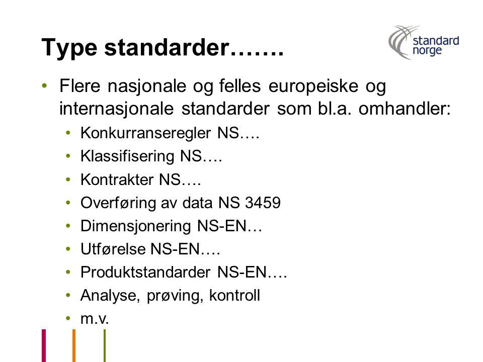 Type standarder……. Flere nasjonale og felles europeiske og internasjonale standarder som bl.a. omhandler: Konkurranseregler NS…. Klassifisering NS…. K