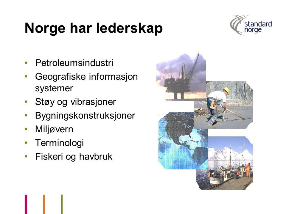 Norge har lederskap Petroleumsindustri Geografiske informasjon systemer Støy og vibrasjoner Bygningskonstruksjoner Miljøvern Terminologi Fiskeri og ha