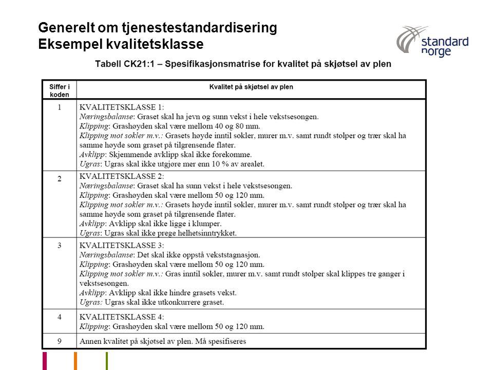 Generelt om tjenestestandardisering Eksempel kvalitetsklasse