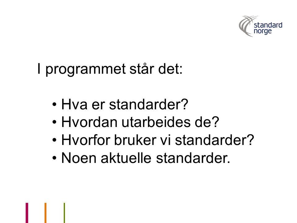 I programmet står det: Hva er standarder? Hvordan utarbeides de? Hvorfor bruker vi standarder? Noen aktuelle standarder.