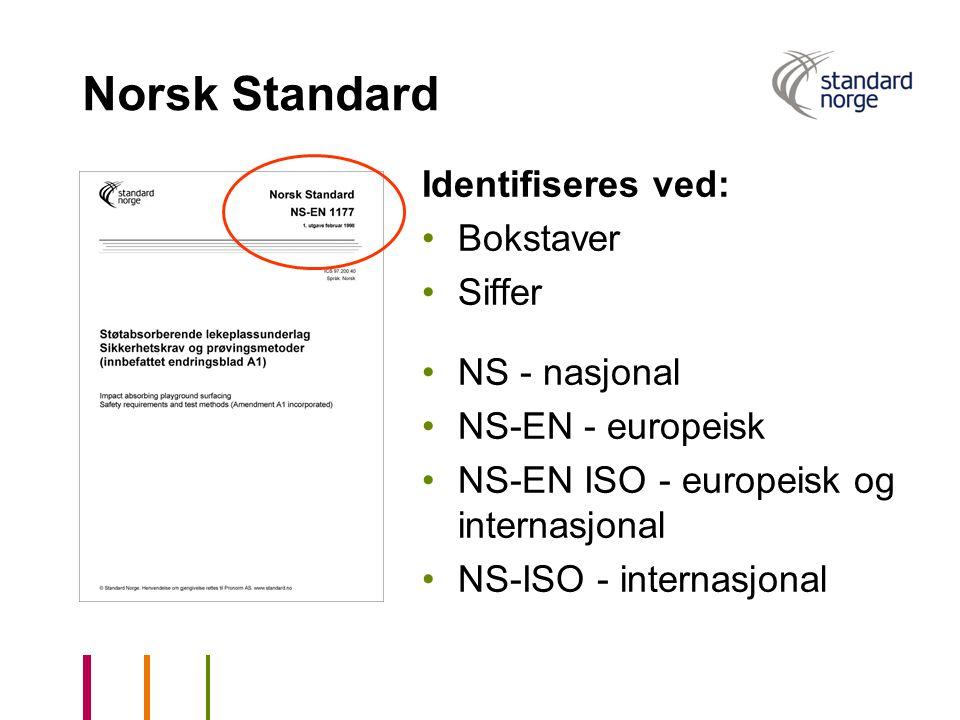 Norsk Standard Identifiseres ved: Bokstaver Siffer NS - nasjonal NS-EN - europeisk NS-EN ISO - europeisk og internasjonal NS-ISO - internasjonal