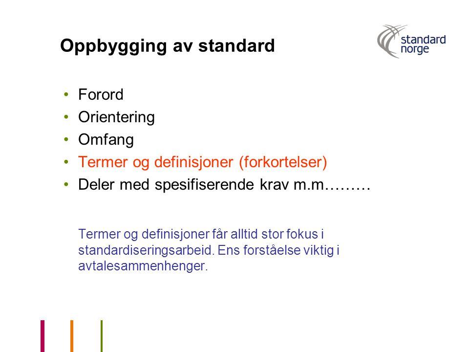 Oppbygging av standard Forord Orientering Omfang Termer og definisjoner (forkortelser) Deler med spesifiserende krav m.m……… Termer og definisjoner får