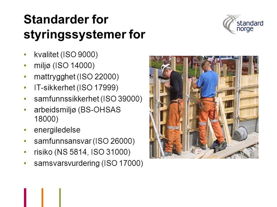Standarder for styringssystemer for kvalitet (ISO 9000) miljø (ISO 14000) mattrygghet (ISO 22000) IT-sikkerhet (ISO 17999) samfunnssikkerhet (ISO 3900
