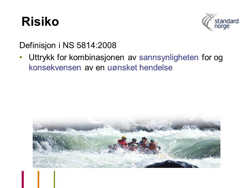 Risiko Definisjon i NS 5814:2008 Uttrykk for kombinasjonen av sannsynligheten for og konsekvensen av en uønsket hendelse