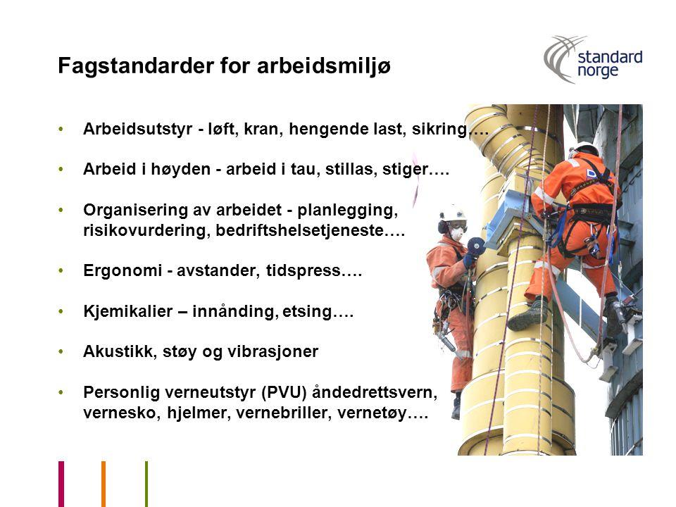 Fagstandarder for arbeidsmiljø Arbeidsutstyr - løft, kran, hengende last, sikring…. Arbeid i høyden - arbeid i tau, stillas, stiger…. Organisering av