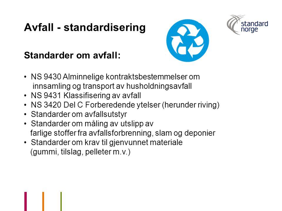 Avfall - standardisering Standarder om avfall: NS 9430 Alminnelige kontraktsbestemmelser om innsamling og transport av husholdningsavfall NS 9431 Klas