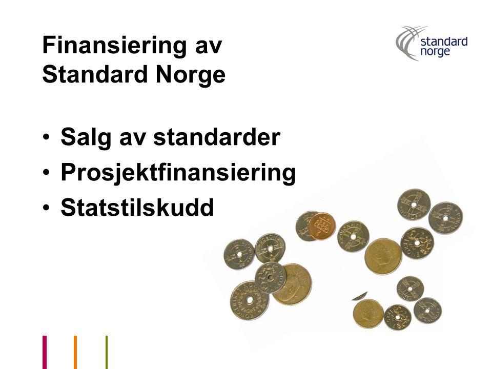 Finansiering av Standard Norge Salg av standarder Prosjektfinansiering Statstilskudd