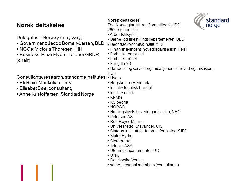 Norsk deltakelse The Norwegian Mirror Committee for ISO 26000 (short list) Arbeidstilsynet Barne- og likestillingsdepartementet, BLD Bedriftsøkonomisk