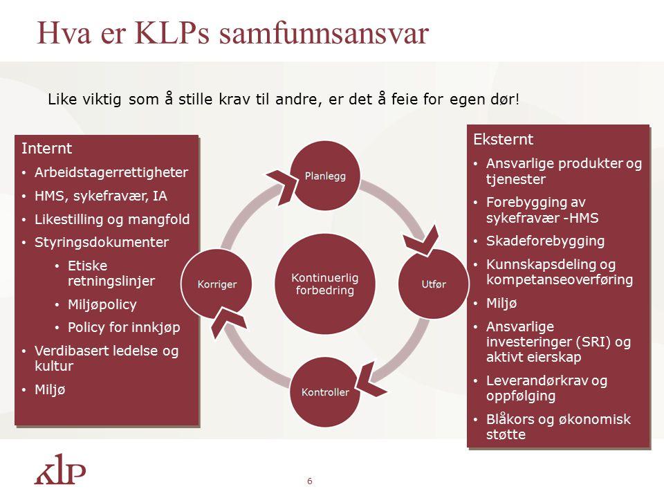 6 Hva er KLPs samfunnsansvar Like viktig som å stille krav til andre, er det å feie for egen dør.