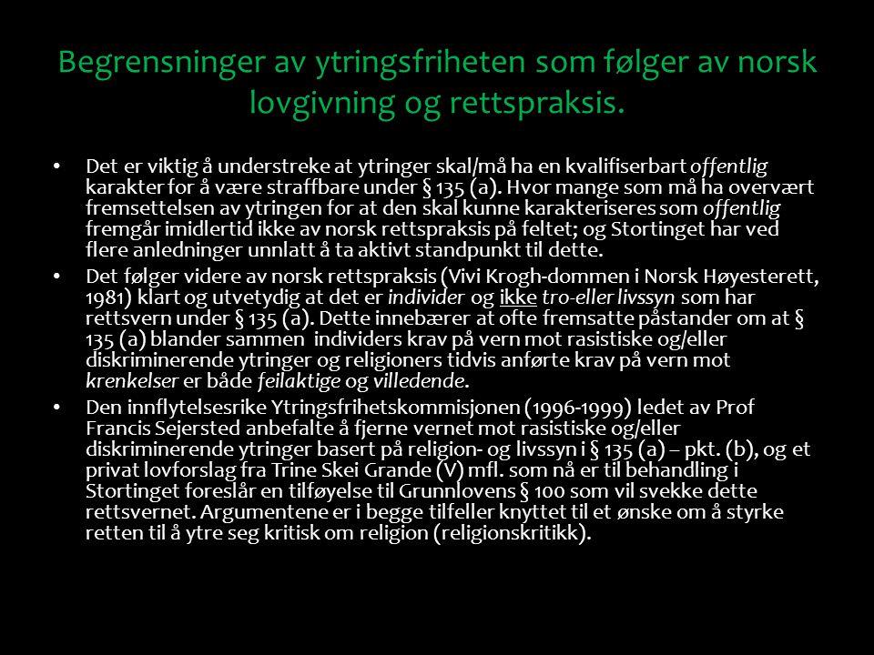 Begrensninger av ytringsfriheten som følger av norsk lovgivning og rettspraksis. Det er viktig å understreke at ytringer skal/må ha en kvalifiserbart