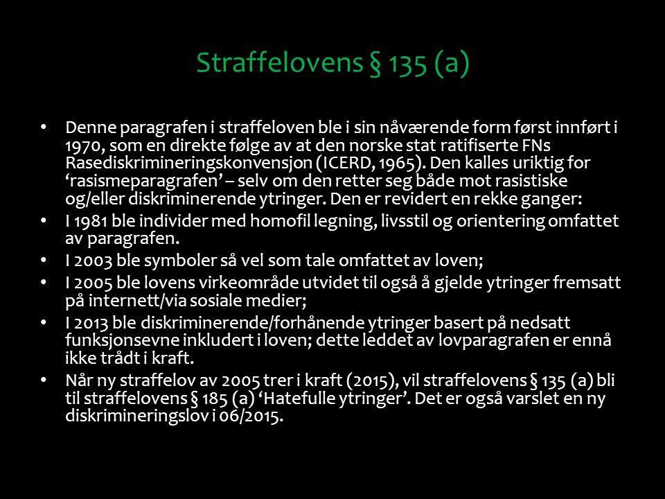 Straffelovens § 135 (a) Denne paragrafen i straffeloven ble i sin nåværende form først innført i 1970, som en direkte følge av at den norske stat rati