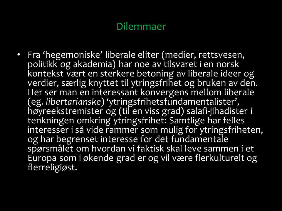 Dilemmaer Fra 'hegemoniske' liberale eliter (medier, rettsvesen, politikk og akademia) har noe av tilsvaret i en norsk kontekst vært en sterkere beton
