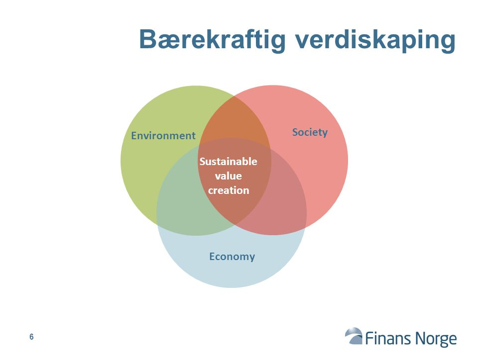 Environment Economy Society Sustainable value creation Bærekraftig verdiskaping 6