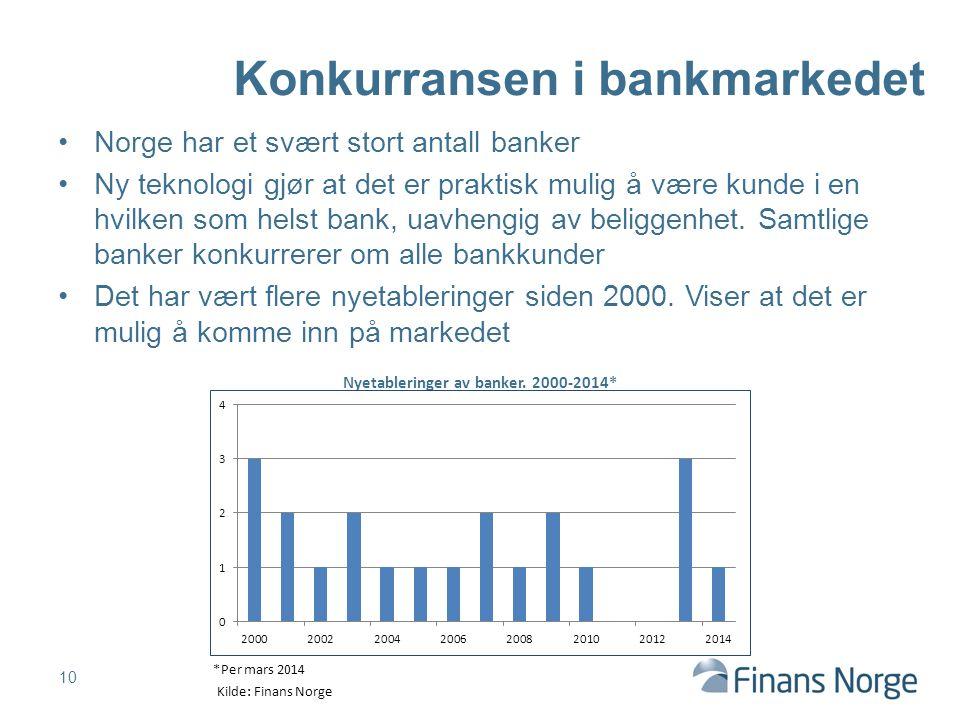 Norge har et svært stort antall banker Ny teknologi gjør at det er praktisk mulig å være kunde i en hvilken som helst bank, uavhengig av beliggenhet.