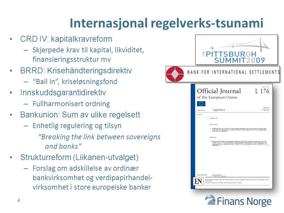 Internasjonal regelverks-tsunami 4 CRD IV: kapitalkravreform – Skjerpede krav til kapital, likviditet, finansieringsstruktur mv BRRD: Krisehåndterings