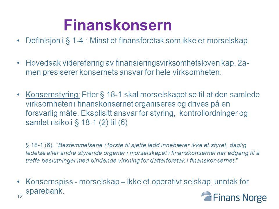 Definisjon i § 1-4 : Minst et finansforetak som ikke er morselskap Hovedsak videreføring av finansieringsvirksomhetsloven kap. 2a- men presiserer kons
