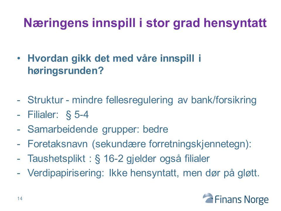 Hvordan gikk det med våre innspill i høringsrunden? -Struktur - mindre fellesregulering av bank/forsikring -Filialer: § 5-4 -Samarbeidende grupper: be