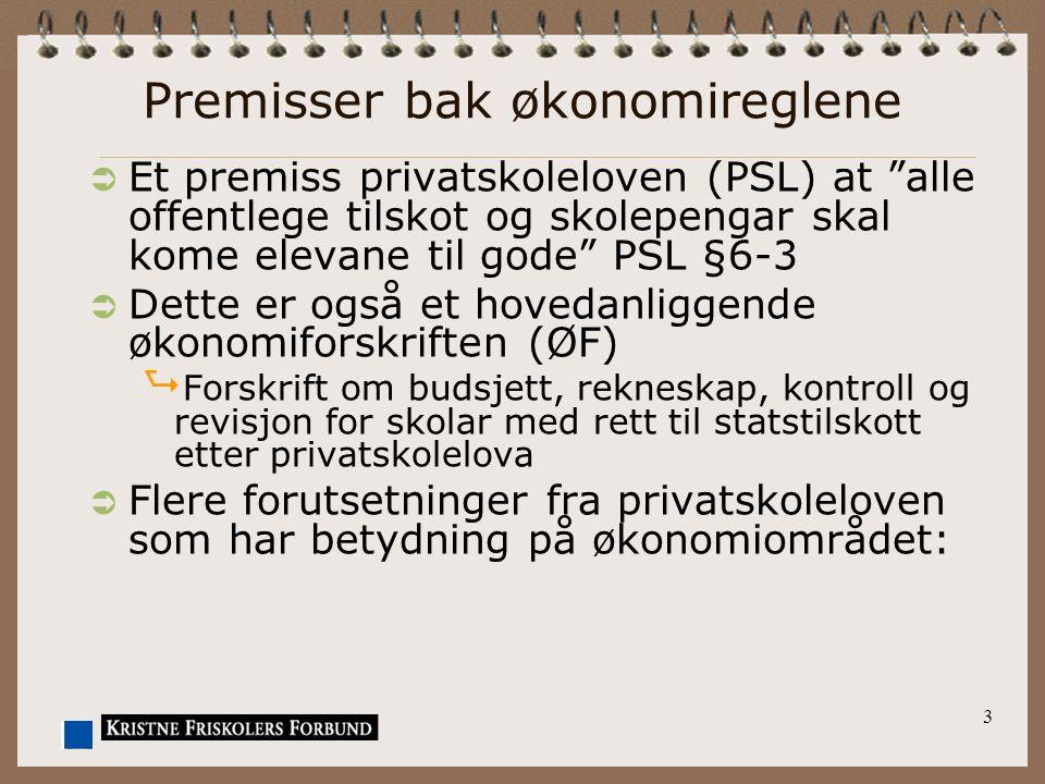 """3 Premisser bak økonomireglene  Et premiss privatskoleloven (PSL) at """"alle offentlege tilskot og skolepengar skal kome elevane til gode"""" PSL §6-3  D"""