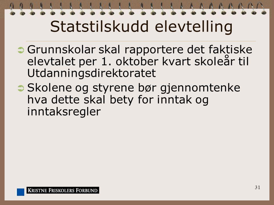 31 Statstilskudd elevtelling  Grunnskolar skal rapportere det faktiske elevtalet per 1. oktober kvart skoleår til Utdanningsdirektoratet  Skolene og