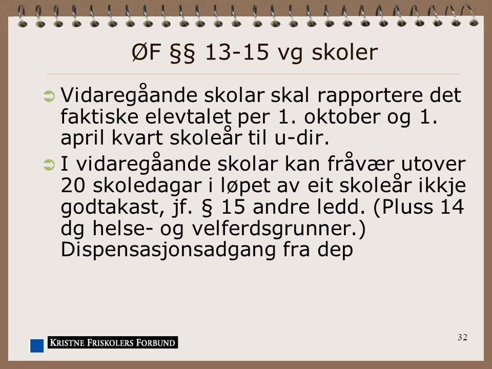 ØF §§ 13-15 vg skoler  Vidaregåande skolar skal rapportere det faktiske elevtalet per 1. oktober og 1. april kvart skoleår til u-dir.  I vidaregåand