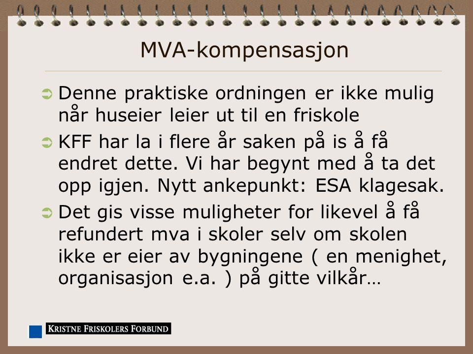 MVA-kompensasjon  Denne praktiske ordningen er ikke mulig når huseier leier ut til en friskole  KFF har la i flere år saken på is å få endret dette.