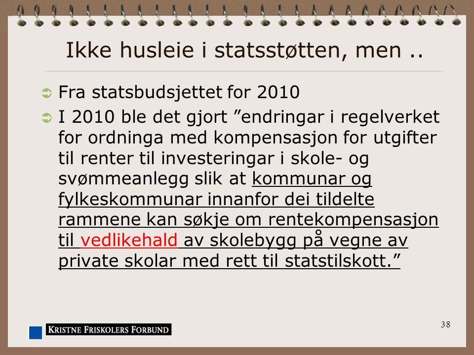 """Ikke husleie i statsstøtten, men..  Fra statsbudsjettet for 2010  I 2010 ble det gjort """"endringar i regelverket for ordninga med kompensasjon for ut"""