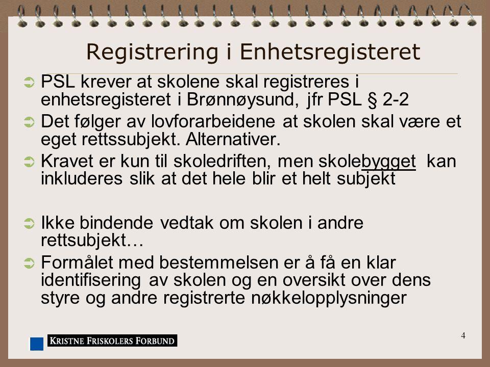 4 Registrering i Enhetsregisteret  PSL krever at skolene skal registreres i enhetsregisteret i Brønnøysund, jfr PSL § 2-2  Det følger av lovforarbei