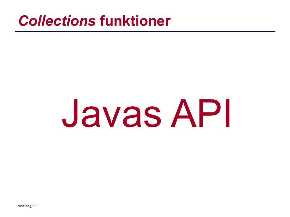 Collections funktioner dIntProg, E10 Javas API