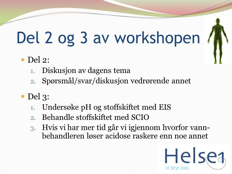 Del 2 og 3 av workshopen Del 2: 1. Diskusjon av dagens tema 2. Spørsmål/svar/diskusjon vedrørende annet Del 3: 1. Undersøke pH og stoffskiftet med EIS