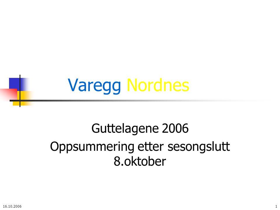Varegg Nordnes Guttelag 2006 16.10.20062 Trenere og spillere Trenere og lagledere: Guttorm, Helge, Ronny, Ola, Steinar og Audun I tillegg har vi hatt hjelp av Espen (Keepertrener), Tom og Akbar Spillere: Vi var 53 gutter som startet trening i november 16 gutter -90 + 37 gutter -91 (12 fra Nordnes + 25 fra Varegg) Vi er 38 gutter ved sesong slutt 8.oktober 15 gutter -90 + 23 gutter -91 4 gutter er kommet til i løpet av året og 19 har tatt en pause eller sluttet 2 smågutter -92 har etter hvert fulgt guttetreningene fast (Stian og Ivar) og spilt regelmessig kamper med guttelagene hver uke Yterligere 15 -92 spillere har vært innom treningene og spilt 1 – 3 guttekamper med 2.
