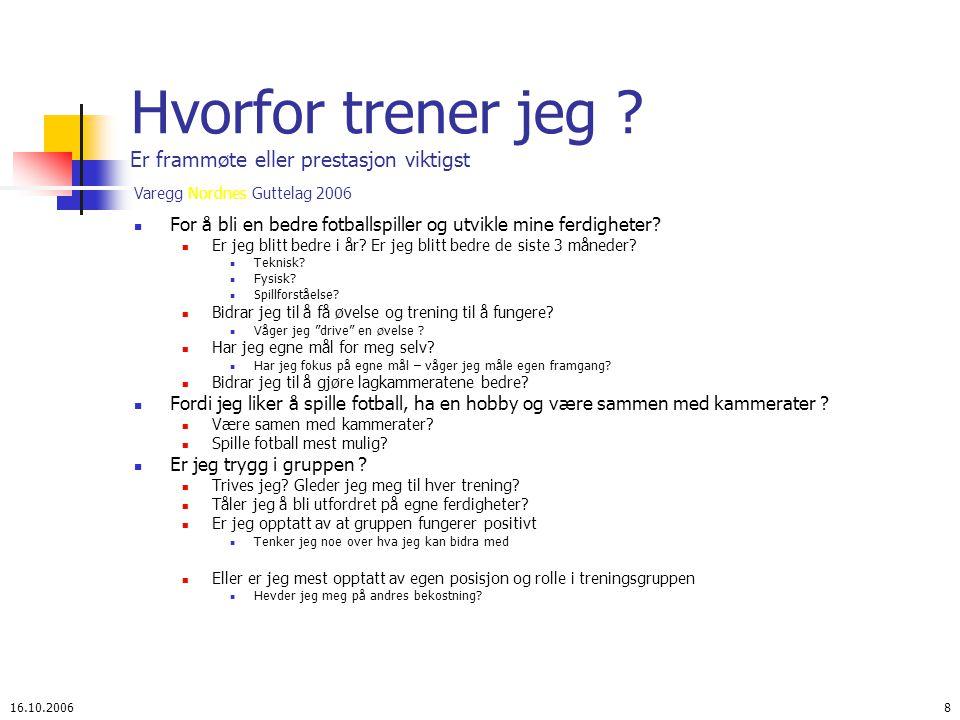 Varegg Nordnes Guttelag 2006 16.10.20068 Hvorfor trener jeg .