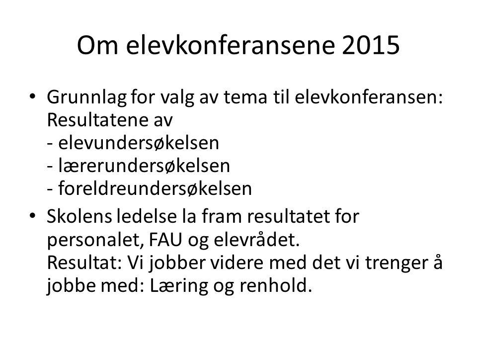 Om elevkonferansene 2015 Grunnlag for valg av tema til elevkonferansen: Resultatene av - elevundersøkelsen - lærerundersøkelsen - foreldreundersøkelse