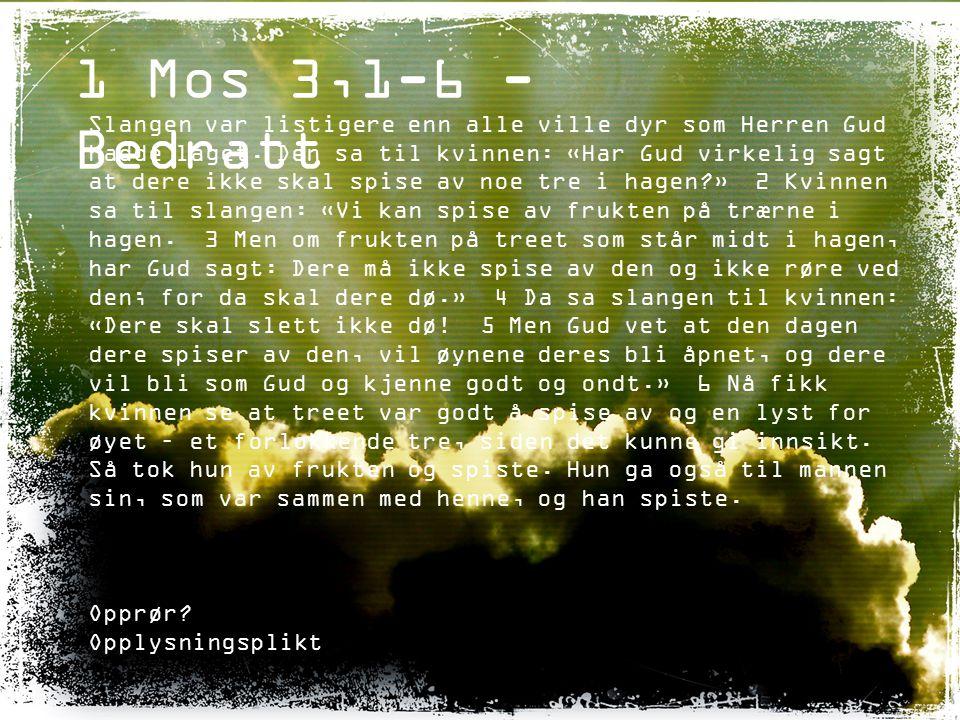 1 Mos 3,1-6 - Bedratt Slangen var listigere enn alle ville dyr som Herren Gud hadde laget. Den sa til kvinnen: «Har Gud virkelig sagt at dere ikke ska