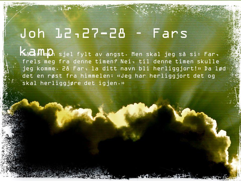 Joh 12,27-28 – Fars kamp Nå er min sjel fylt av angst. Men skal jeg så si: Far, frels meg fra denne timen? Nei, til denne timen skulle jeg komme. 28 F
