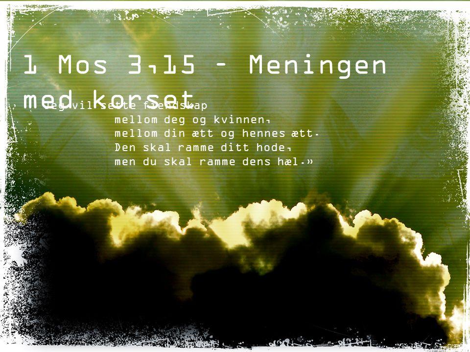 1 Mos 3,15 – Meningen med korset Jeg vil sette fiendskap mellom deg og kvinnen, mellom din ætt og hennes ætt. Den skal ramme ditt hode, men du skal ra