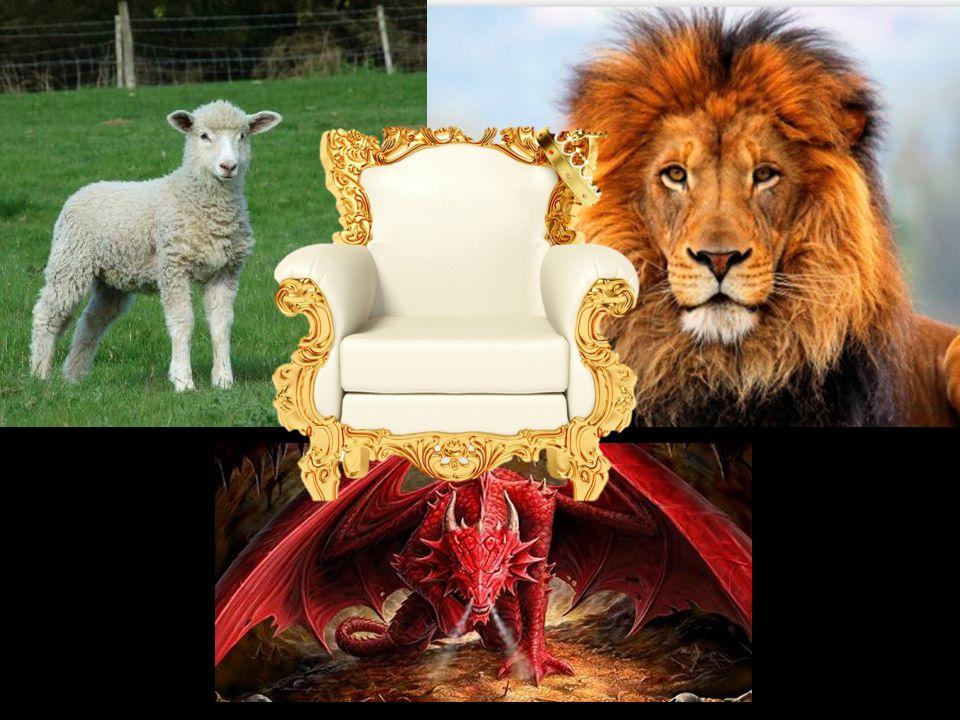 Åp 5 –visjonen av lammet 6 Og jeg så et lam: Det stod midt i kretsen, mellom tronen og de fire vesener og de eldste, og Lammet så ut som det var slaktet.
